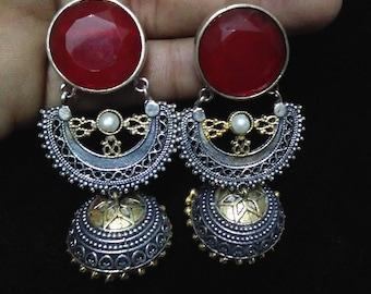 Beautiful Two Tone Jhumka,Statement Jewelry,Trendy Chic Oxidized Dual Tone Earrings,