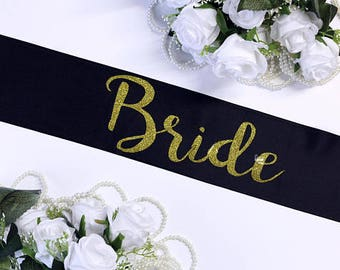 Bridesmaid sash Bridal Party Gold Glitter Bride To Be Bride to be gift Personalized Maid of Honor Bridal shower  Plus Size STYLE M Love