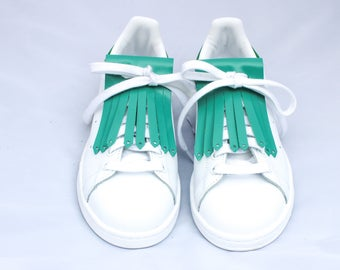 Fringes Turquoise leather sneakers