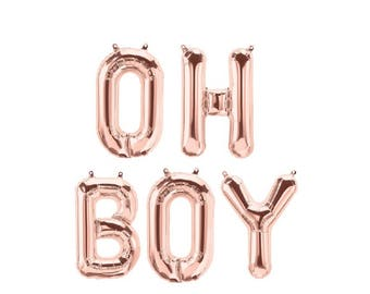 """3D Rose Gold 16"""" Foil Balloons 'OH BOY 'Its A Boy'' Baby Shower Oh Baby'  CONGRATS Silver Blue Mylar"""