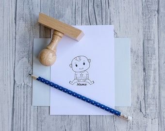 Baby stamps, personalizable, boy, stamps for birth, baptism, boy, baby, wooden handle