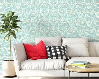 Classic Damask Removable Wallpaper / French self adhesive wallpaper / blue wall mural G207-13