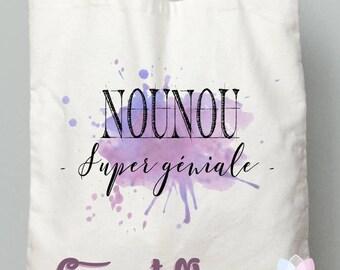 "Nanny gift tote bag ""super great nanny"" watercolor purple"
