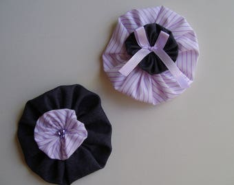 Set of 2 large strips in cotton denim and purple