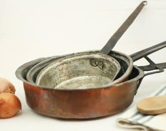 antique copper pans u2013 french vintage copper pans u2013 french saut pan u2013 copper skillet u2013