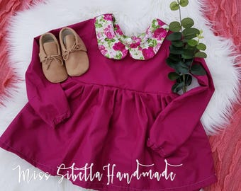 Red wine paplem top with peter pan collar