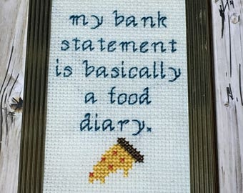 Food Diary Completed Framed Cross Stitch