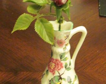 """Old Foley """"Christmas Rose"""" James Kent Ltd. Vase w Ceramic Rose"""