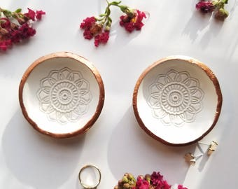 Mandala Clay Ring Dishes, Catchall, White and Copper Ring Holder, White Trinket Dish Set, Ring Bowl, Jewelry Storage, Birthday Gift for Her