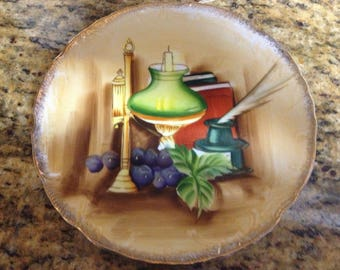 "Vintage Norleans Decorative Plate -handpainted still life, 10.5"", made in Japan"