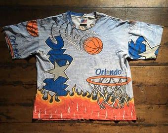 90s Orlando Magic NBA Over Print T Shirt