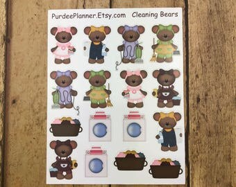 Cleaning Bears. Planner Stickers, Erin Condren, Recollections, Happy Planner, Cute Stickers, ECLP, Fun.