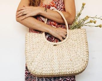 Vintage Straw Purse / Straw Market Bag / Vintage Straw Bag