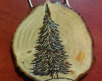 Rustic Detailed Christmas Tree Ornament made from Frazier Fur Christmas tree. Free hand drawn , wood burned and sealed.