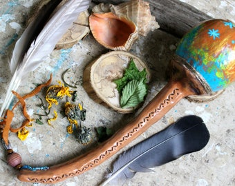 Shaman rattle, Gourd rattle, Native rattle, Healing rattle, Shamanic tools, Healing tools, Ceremonial tools, Witchcraft, Pagan, Meditation