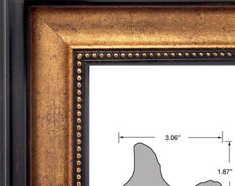 Mr.Z Frames Upscale Contemporary, 3.06 Inch Black & Gold Picture Frame