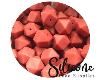17mm Burnt Autumn Hexagon Silicone Beads, Silicone Teething Beads, 100% Food Grade Silicone Beads, BPA Free, Silicone Loose Bead