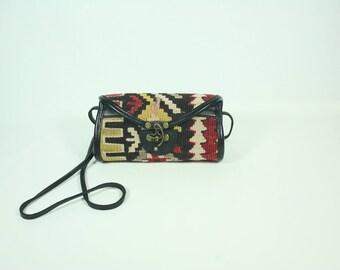 Tribal Clutch Purse, Everyday Bag, Boho Chic Clutch, Vintage Kilim Bag, Ethnic Bag