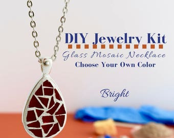 Complete Jewelry Making Kit, Glass Mosaic Necklace Activity, Choose Your Own Bright Colors, DIY Necklace Kit, Teardrop Silver Pendant