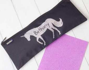 Personalised Glitter Unicorn Pencil Case
