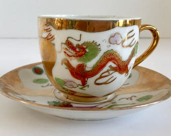 Vintage 22K Gold and White Red Dragon Porcelain Teacup and Saucer