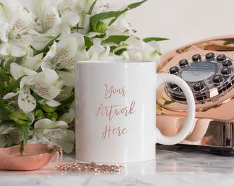 White Mug Mockup with Rose Gold telephone and ornaments