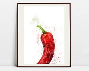 Pepper Watercolor Art Print, Pepper Illustration, Kitchen Wall art, Kitchen Wall Decor, Vegetable Print