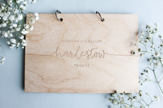 modern wedding guest book wooden wedding guest book wooden