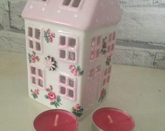 Handmade Cath Kidston pink polka dot highgate ditsy ceramic tealight house