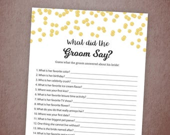 What Did the Groom Say,Gold Confetti Bridal Shower Game Printable, What Did He Say About Her, Bachelorette Party Game Cards, Wedding, A001