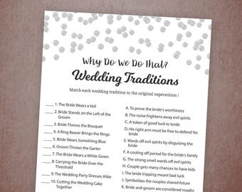 Why Do We Do That, Guess The Wedding Tradition Game, Silver Confetti Bridal Shower, Instant Download, Wedding Traditions Guessing Game, A003