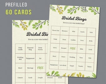 60 Prefilled Plants Bridal Bingo Cards, Printable Bridal Shower Games, Trees Greenery Botanical, Unique Bingo Cards and Calling Sheet, A011
