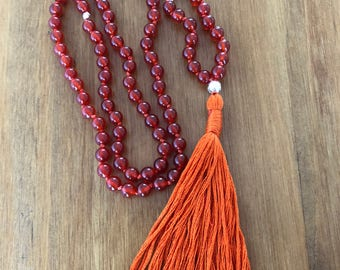 Hand Knotted Carnelian and Sterling Silver 'Zen' style Mala Necklace or Wrapped Bracelet