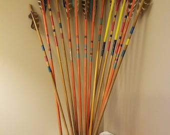 Vintage Wooden Arrows, Painted Arrows with Real Feathers,  1960s Archery Arrows, Folk Art Arrows