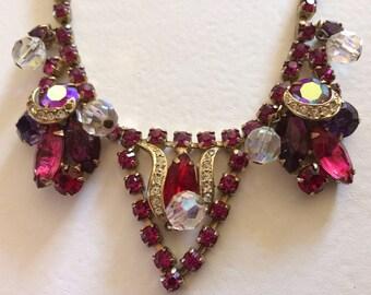 Stunning Signed Kramer Pink Rhinestone Necklace
