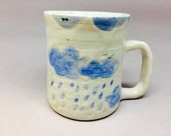 raining day cup,unique,handmade ceramic mug,cloud ,rain,pottery mug, coffee or tea mug, handmade gift, housewarming gift, kitchen, dining