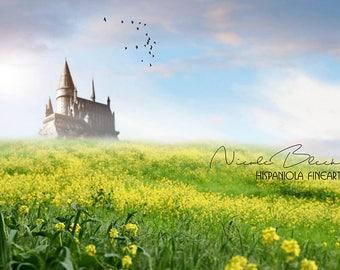 Castle and Mustard Field, premade Backdrop, Fantasy Composite, Fairy Tale, Castle Scene, Fantasy Scenery, Princess Backdrop, Castle Prints