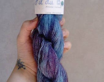 "35% Mohair, wool hand dyed wool. ""Anna blue"""