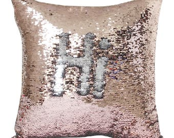 Beige Shimmer and Silver Color Change Sequin Magic Mermaid Pillow