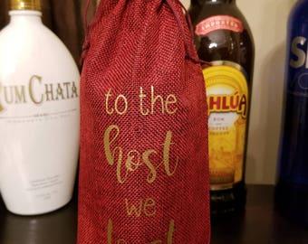 Jute Wine Bag - Wine Bottle Holder - To the host we toast