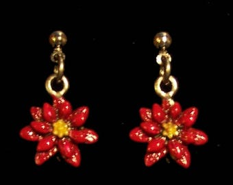 Red Poinsettia Earrings, Christmas Earrings, Holiday Earrings, Poinsettia Jewelry, Stocking Stuffer, Red Earrings, Chrismtas Jewelry