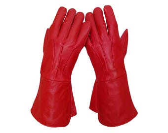 Medieval Renaissance Gauntlet red leather gloves long arm cuff