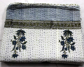 Hand made kantha quilt vintage twin size throw hand stitched Flower print kantha bedcover