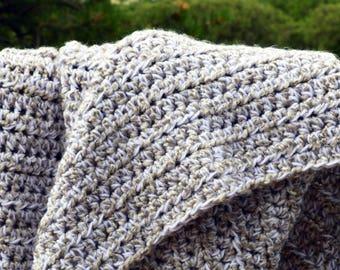 Gray crochet baby blanket; Soft baby blanket; Gray and white baby throw