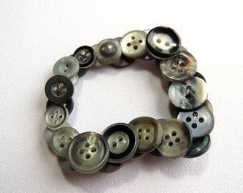 Dark grey upcycled button bracelet