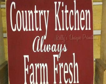 Wooden Country Kitchen Always Farm Fresh Sign Handmade Wooden Signs Wall Decor Country Home Decor Farmhouse Decor Primitive Rustic Signs