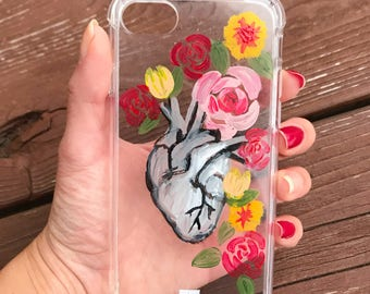 Corazon Heart hand painted phone case/ Mexican heart/ Iphone 6, 7 / Samsung Galaxy s7/ hand made Phone case/ gift for her/ bridesmaid gift