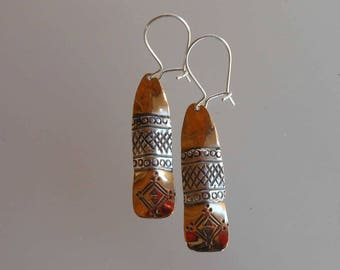 Earrings in bronze and silver Bo C1003