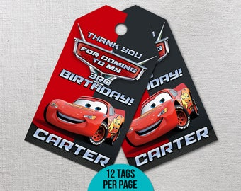 Cars Thank You Tags, Cars 3 Thank You Tags, Disney Cars Party Favor, Lightning Mcqueen Printables, Race Printable Gift Label, Goody Bag Tag