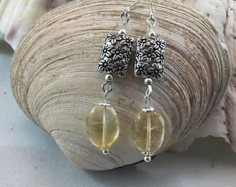 Citrine Silver Plated Bead Drop/Dangle Earrings with .925 Silver Wires